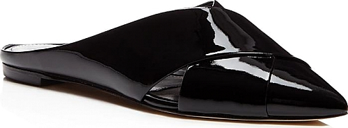 Sigerson Morrison Sheldon Patent Leather Crisscross Pointed Toe Mules | FLATS | Sigerson Morrison | Black