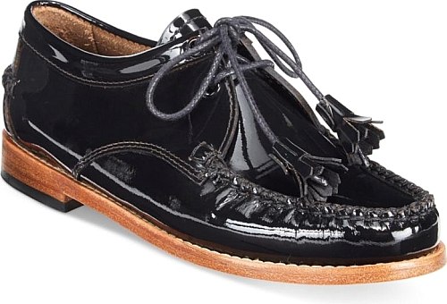 G.h. Bass & Co. Women's Weejuns Winnie Lace-Up Loafers | Flat | G.h. Bass & Co. | Black Patent