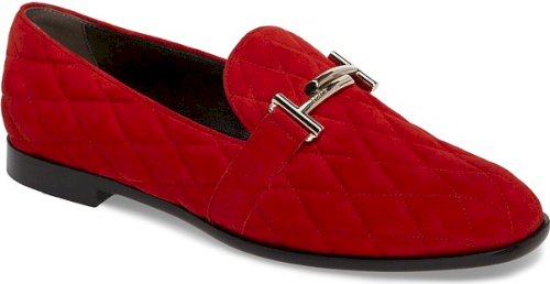 2ca55941402 Tod s Quilted Double T Loafer in Red Red Red Shoes UPC 190115696691