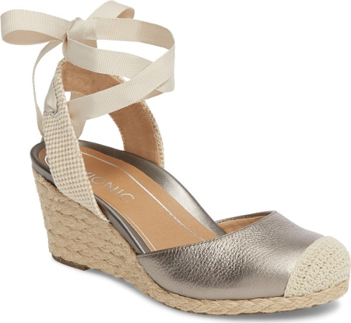 8d2680f164d7 Vionic Maris Orthaheel Espadrille Wedge Sandal in Grey Gray Pewter Shoes  UPC 616542518769