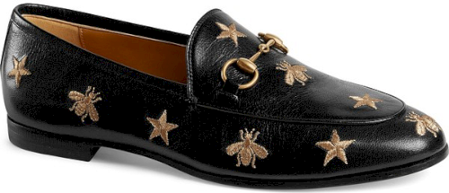 e9cda331c16 Gucci Jordaan Embroidered Bee Loafer in Black Black Loafers UPC 888108969395