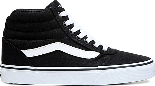 Vans Women s Ward High Top Skate Shoes in Black-White  806acf924