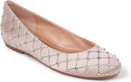 daf18f6cac Badgley Mischka Ginny Metallic Suede Embellished d'Orsay Pointed Toe ...