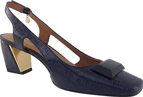 J. Renee Navy Faux Crinkle Patent Leather