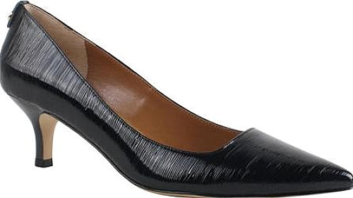 J. Renee Black Faux Crinkle Patent Leather