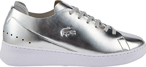 4e0ddc8bc77e0e Lacoste Eyyla 1 Leather Sneaker in Silver Leather