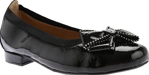 Beacon Shoes Black Patent Crinkle Polyurethane