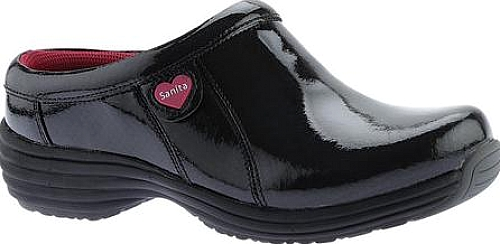 Sanita Clogs Black Patent Diamond