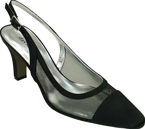 David Tate Vegas Slingback in Black Satin Mesh