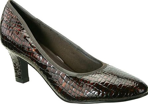 David Tate Peggy Pump in Brown Croc Patent