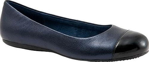 SoftWalk Napa Flat in Dark Blue Pearlized Leather