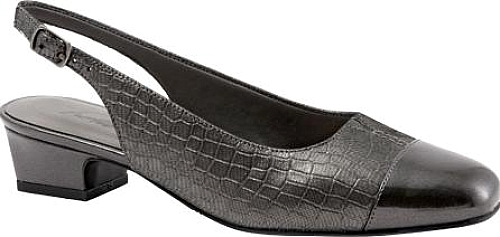 Trotters Dark Pewter Metallic Croco Leather