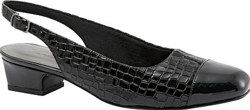 Trotters Black Patent Croco Leather