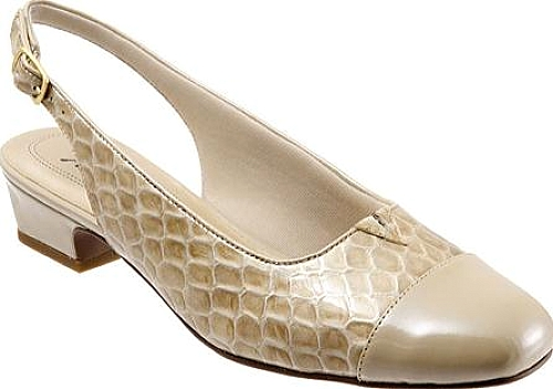 Trotters Taupe Patent Croco Leather