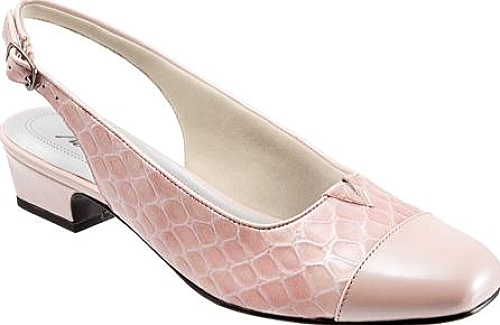 Trotters Dea in Light Pink Patent Croco Leather