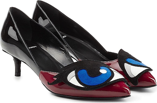 Pierre Hardy Patent Leather Oh Roy! Pumps | Kitten Heels | Multicolored