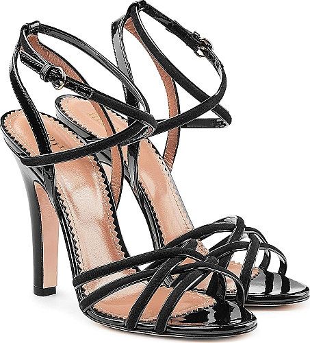 RED Valentino Patent Leather Sandals with Suede | High Heel Sandals | Black