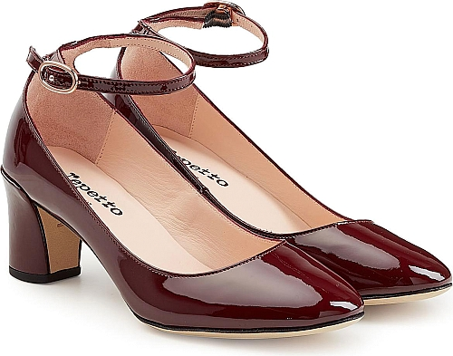 Repetto Patent Leather Pumps with Ankle Strap | Block Heels | Brown
