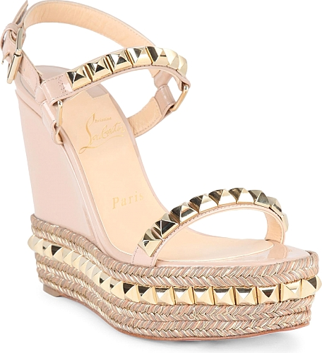 Christian Louboutin | Cataclou 120 Studded Patent Leather Espadrille Wedge Sandals | Nude
