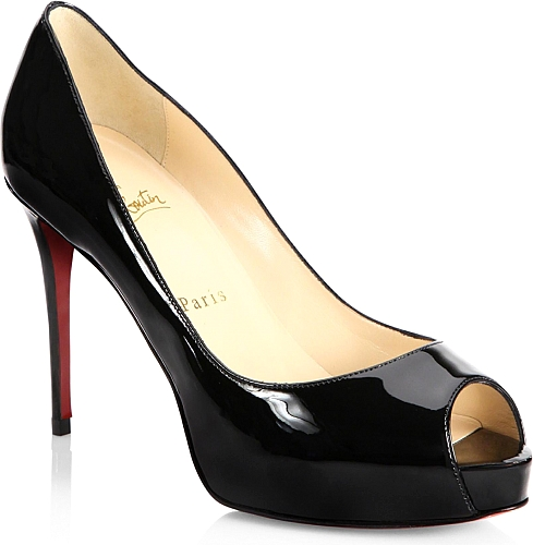 Christian Louboutin | Peep-Toe Leather Pumps | Black