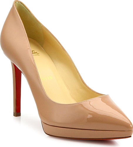 Christian Louboutin | Pigalle Plato Patent Leather Point Toe Platform Pumps | Nude