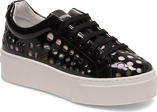 KENZO | K-Lace Patent Leather Platform Sneakers | White