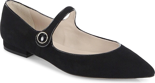 L.K. Bennett | Suede Mary Jane Point Toe Flats | Black