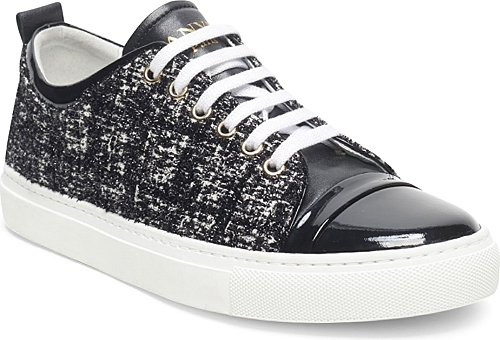 Lanvin | Velvet and Patent Leather Low Top Sneakers | Black