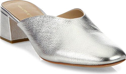 570243c18441 Loeffler Randall | Lulu Metallic Leather Block Heel Mules | Silver ...
