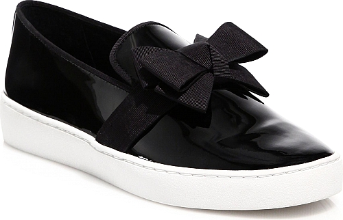 Michael Kors Collection | Val Bow Patent Leather Skate Sneakers | Black