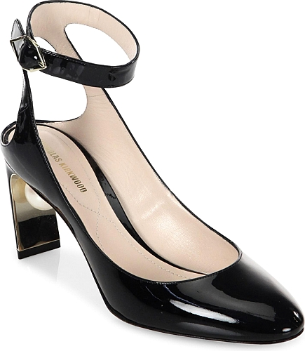 Nicholas Kirkwood | Lola Pearl Patent Leather Ankle Strap Pumps | Black