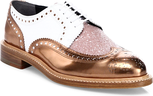 Robert Clergerie | Roeltm Metallic Leather & Glitter Oxfords | Ocean